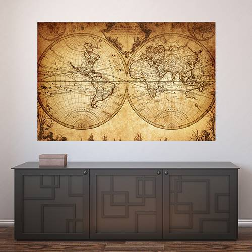 Painel Adesivo de Parede - Mapa Mundi Vintage - 281pn