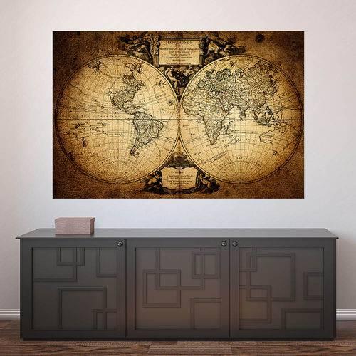 Painel Adesivo de Parede - Mapa Mundi Vintage - N2423