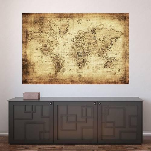 Painel Adesivo de Parede - Mapa Mundi Vintage - N3424