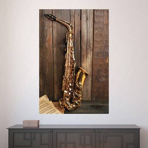 Painel Adesivo de Parede - Saxofone - N2580