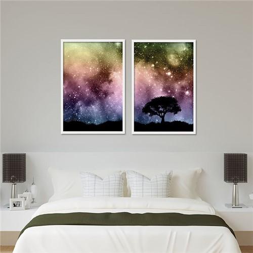 Painel Céu Estrelado Colorido Moldura Box Branca Lisa - 30X20cm