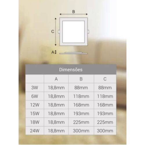 Painel de Embutir Quadrado LED 15W 4000K Bivolt 10421 - Kian