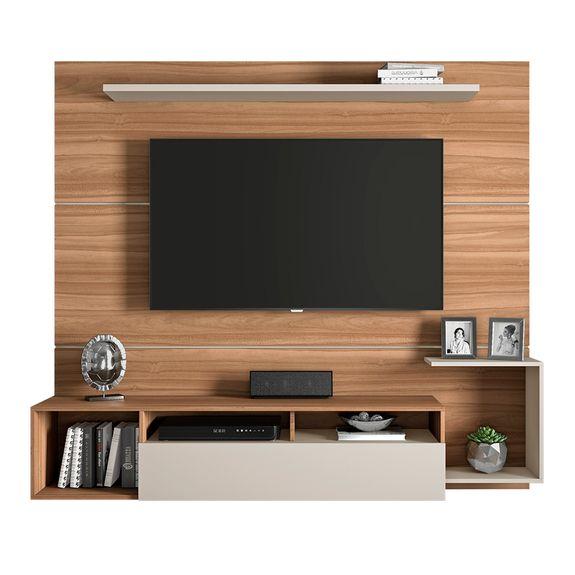 "Painel Frevo para TVs Até 60"" - Naturale/Off White"