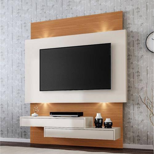 Painel para TV Até 42 Polegadas 2 Gavetas LED TB120L Dalla Costa Off White/Freijó