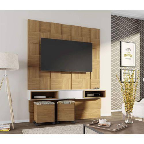 Painel para Tv 3D TB125 Freijo / Branco Brilho Off-White Dalla Costa