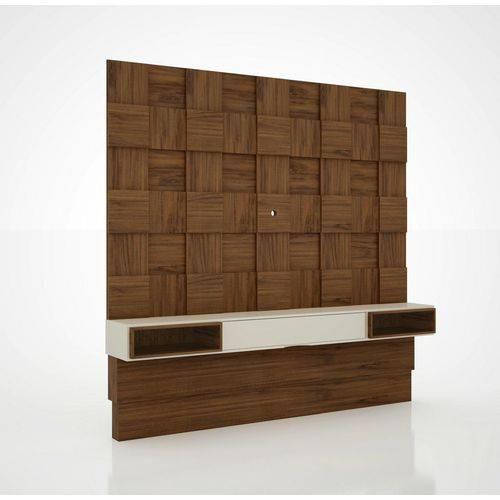 Painel para TV Tb126 Quadriculado 3d Nobre/Off White - Dalla Costa