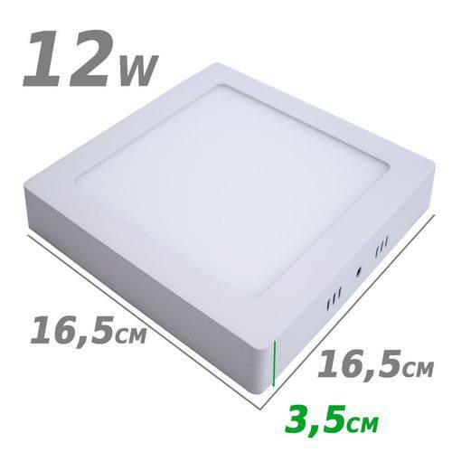 Painel Plafon Led de Sobrepor 12w 16,5 X 16,5cm 3000k Branco Quente