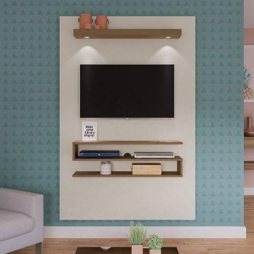 Painel Suspenso Nexus com LED para TV Até 47 Polegadas Off White com Pinho