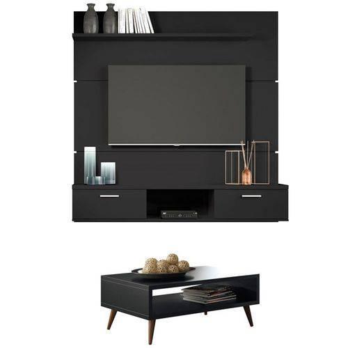 Painel Tv Flat 1.6 com Mesa de Centro Lucy Preto - Hb Móveis