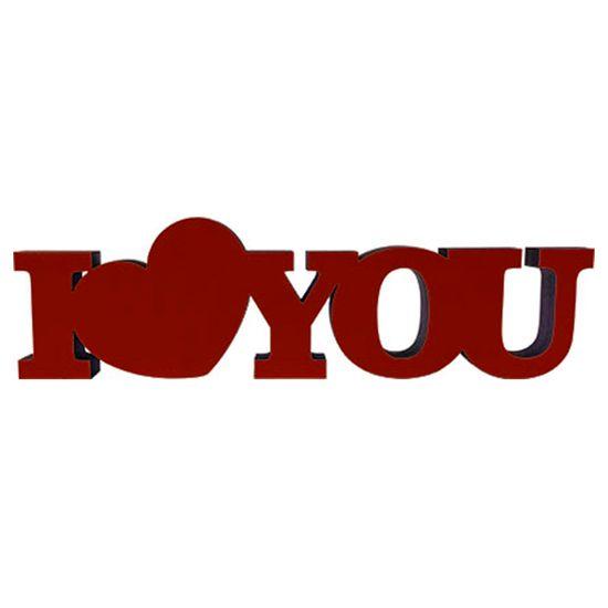 Palavra Decorativa I Love You Coração 5,5x19,2cm DHPM5-183 - Litoarte