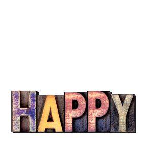 Palavras Letras em Alto Relevo Happy Felicidade
