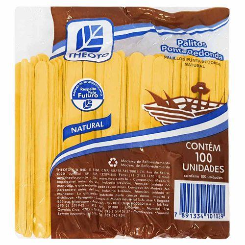 Palito de Madeira Escolar Amarelo Theoto 100 Unidades 120061