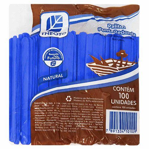 Palito de Madeira Escolar Azul Theoto 100 Unidades 121419