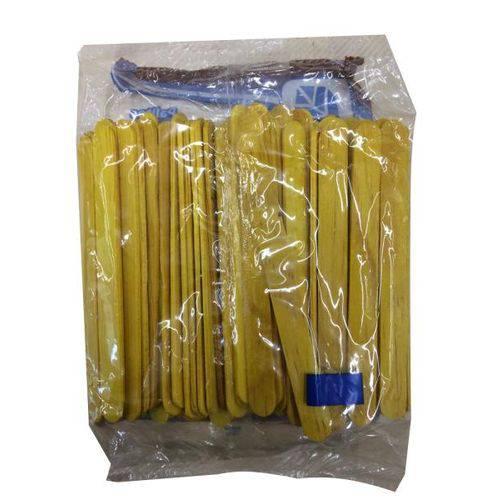 Palito de Sorvete Madeira Amarelo com 100 Unidades
