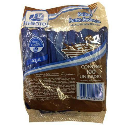 Palito de Sorvete Madeira Azul com 100 Unidades