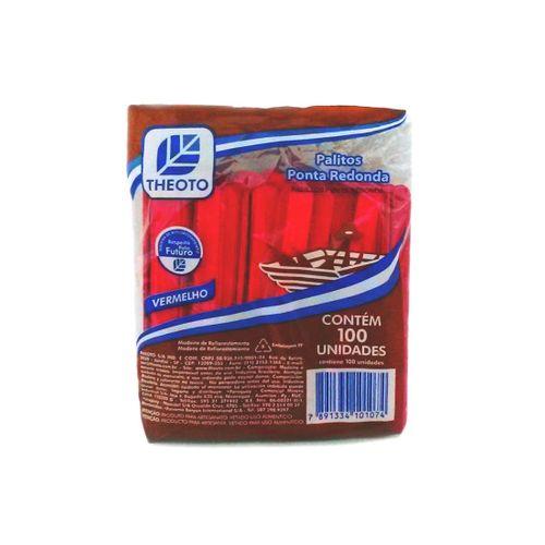 Palito de Sorvete Vermelho Theoto - 100 Unidades 121418
