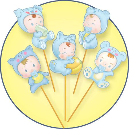 Palito Decorativo Baby Azul - 10 Unidades