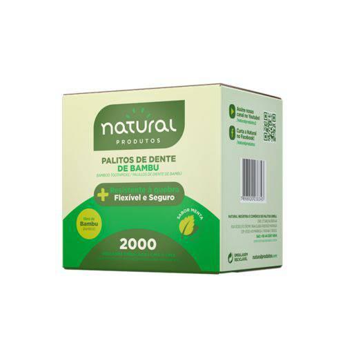 Palito Dente Bambu Sabor Menta Embalado Natural Caixa 2.000 Unidades