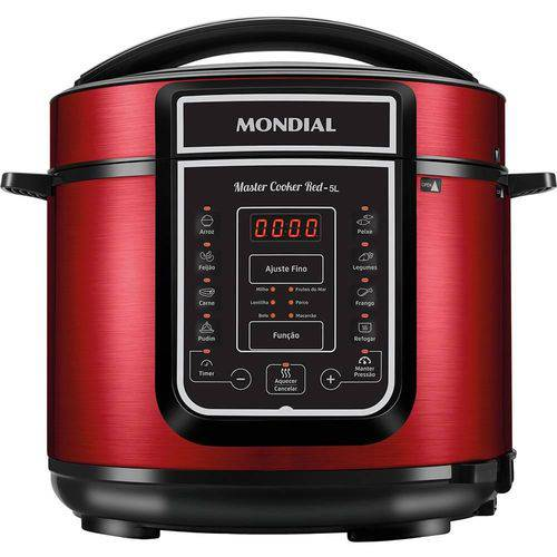 Panela de Pressão Elétrica Digital Master Cooker 5L Vermelha 900W 127V - Mondial