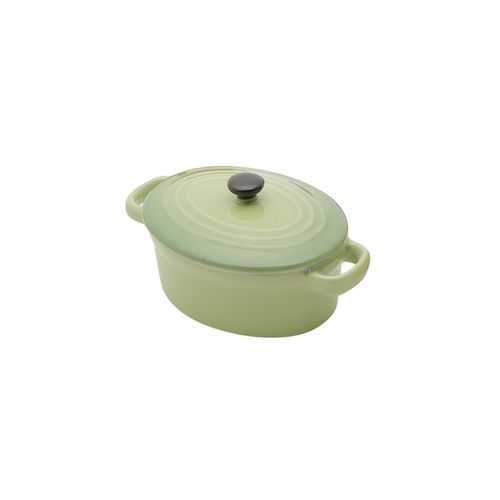 Panela Oval em Porcelana com Tampa Bon Gourmet 15x8cm Verde