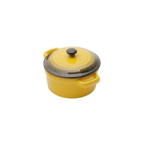 Panela Redonda em Porcelana com Tampa Bon Gourmet 12,5x7,5cm Amarela