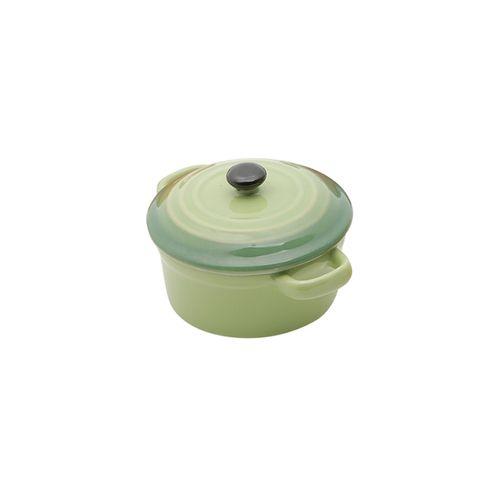 Panela Redonda em Porcelana com Tampa Bon Gourmet 12,5x7,5cm Verde