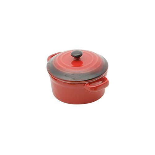Panela Redonda em Porcelana com Tampa Bon Gourmet 12,5x7,5cm Vermelha