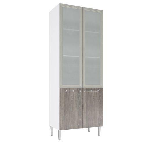 Paneleiro Art In 80Cm 4 Portas com Vidro Branco/Rústico