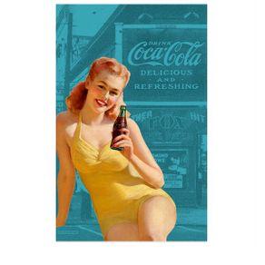 Pano de Prato Coca Cola Pin Up Azul