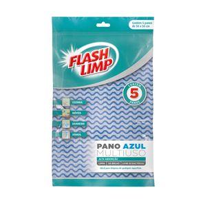 Pano Multiuso Azul Flashlimp com 5 Unidades