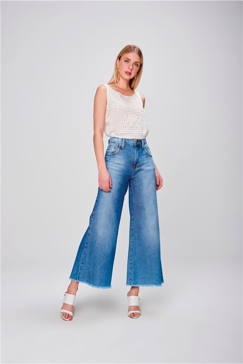 Pantalona Jeans Cropped Barra Desfiada