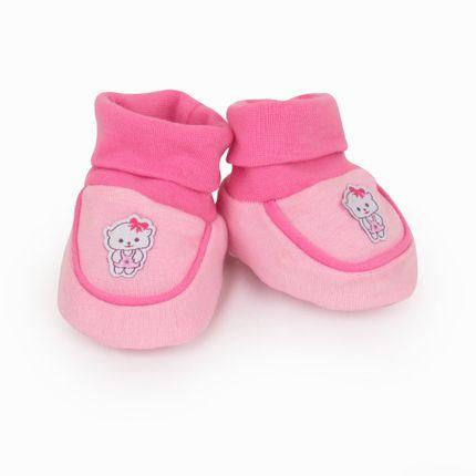 Pantufa Feminina Recém Nascido - Rosa Gatinha - Pimpolho-RN
