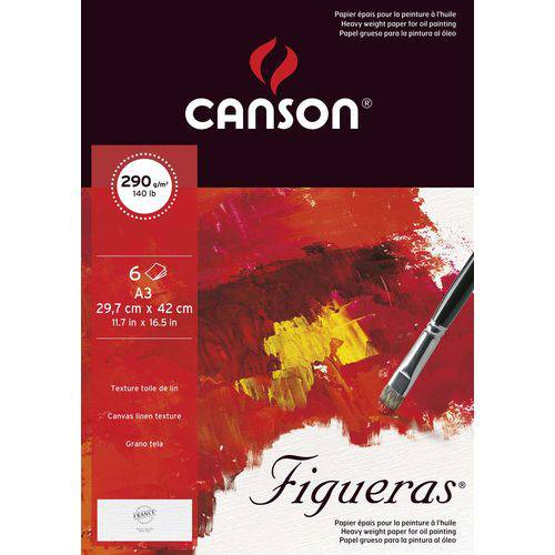 Papel Acrílica/óleo Figueras 290 G/m² A-3 29,7 X 42,0 Cm com 06 Folhas Pochette Canson