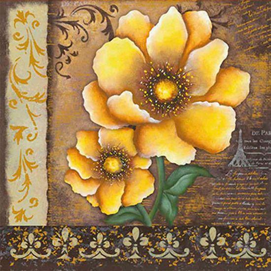 Papel Adesivo Decoupage Hot Stamping Flores DA20H-006 - Litoarte