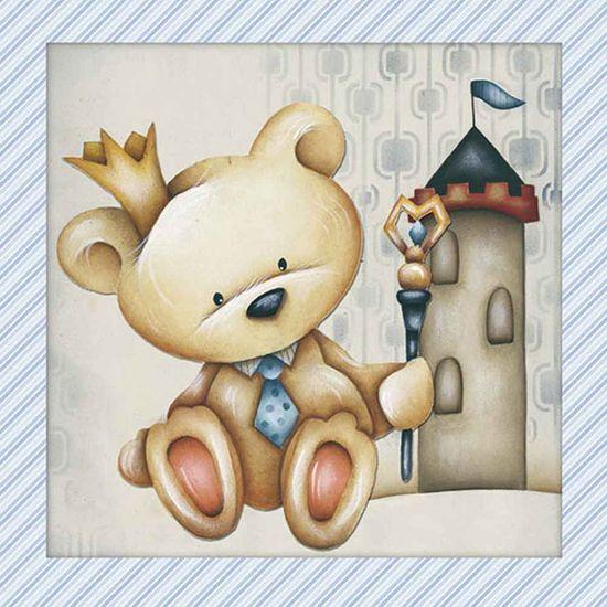 Papel Adesivo Decoupage Quadrado Litocart LAQ-097 20x20cm Urso Castelo