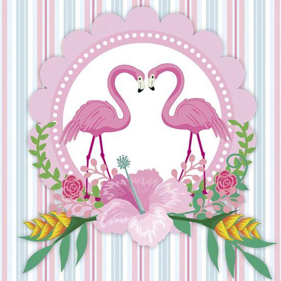 Papel Adesivo Decoupage Quadrado Litocart LAQ-114 20x20cm Casal de Flamingos