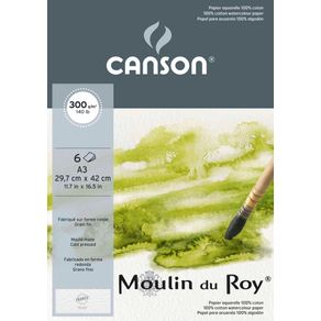 Papel Aquarela Moulin Du Roy 300 G/m² A-3 29,7 X 42,0 Cm com 06 Folhas Pochette Canson