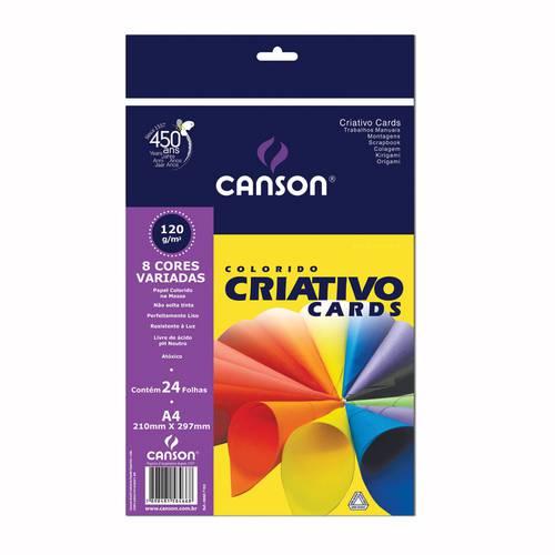 Papel Canson Escolar Criativo 8 Cores A4 120g Pacote com 24 Folhas