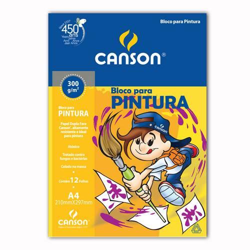 Papel Canson Escolar para Pintura A4 300g Pacote com 12 Folhas