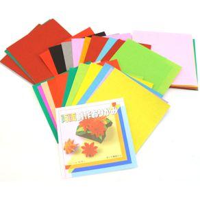 Papel de Dobradura Origami 7,5 Cm Frente/Verso 16 Cores com 80 Folhas Toyo