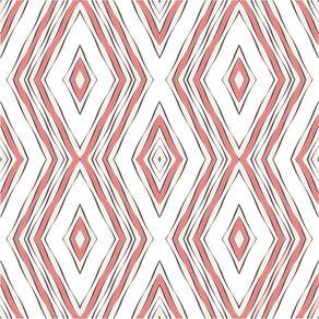 Papel de Parede Adesivo Abstrato Quarto de Solteiro Rosa Losangos AB14011