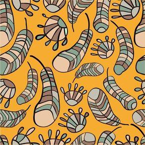 Papel de Parede Adesivo Abstrato Varanda Amarelo Penas AB14069