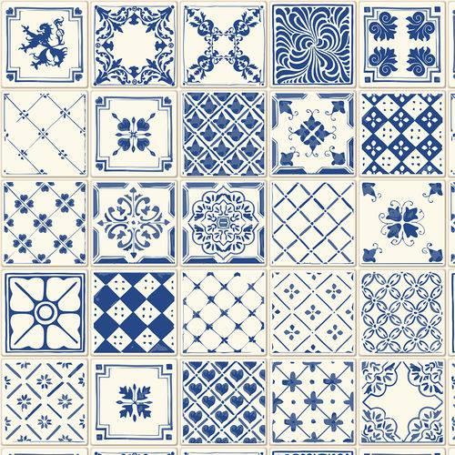 Papel de Parede Adesivo - Azulejo Português - N0308