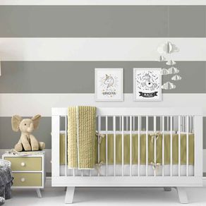 Papel de Parede Adesivo Cinza e Branco Quarto Infantil Unissex BY502