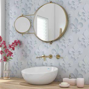 Papel de Parede Adesivo 3D Branco Arabesco para Banheiro Conforto 3D17011
