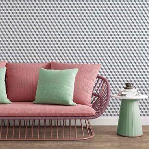 Papel de Parede Adesivo 3D Branco e Cinza para Sala Mini Cubinhos 3D17067