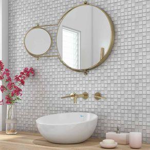 Papel de Parede Adesivo 3D Branco para Banheiro Pipoca 3D17057