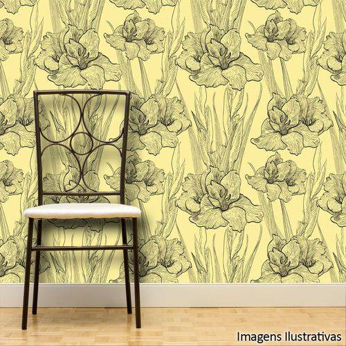 Papel de Parede Adesivo Floral Amarelo