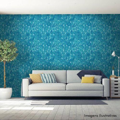 Papel de Parede Adesivo Floral Azul