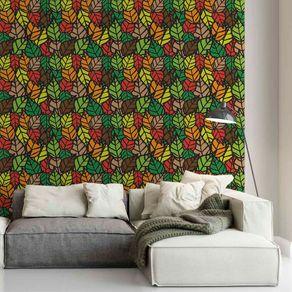 Papel de Parede Adesivo Flores Folhas Coloridas FL13049